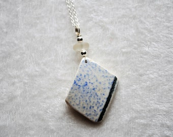 Sea Glass Jewelry Pottery Necklace Blue Patterned with Frosty White 1473