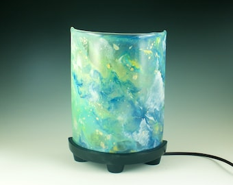Ceramic Table Lamp, Enamel on Glass Lamp Shade, Half Cylinder, Multi Color, Hand Painted Base, Fused Glass, Modern Accent Light