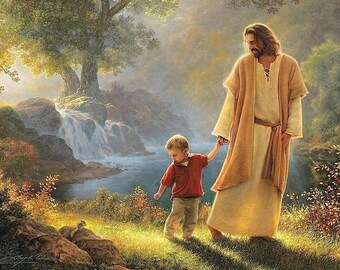 Jesus Walking with Child / Ten (10) - 4 x 6 / 4x6 GLOSSY Photo Pictures