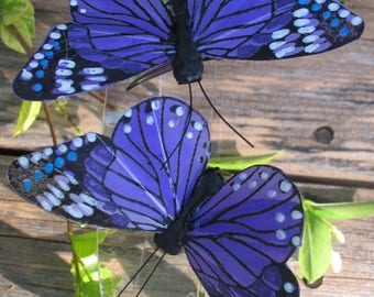 2- PURPLE Feathers  Butterflies Hair Clips for weddings