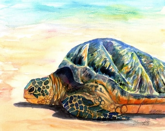 Green Sea Turtle Fine Art Print 8x10 Kauai Art Hawaiian Sea Turtle Painting Hawaii Wall Art Ocean Decor Honu Prints Beach Decor Turtles