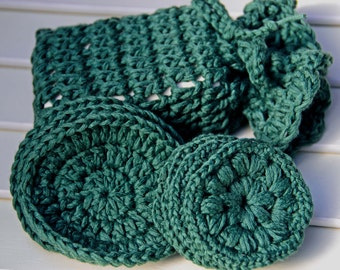 Winter Green Soy Silk Face Scrubbies(7) And 1 Soap Pouch    *  Face Wipes-Makeup Pads-Makup Removers - Face Puffs - Bath Spa