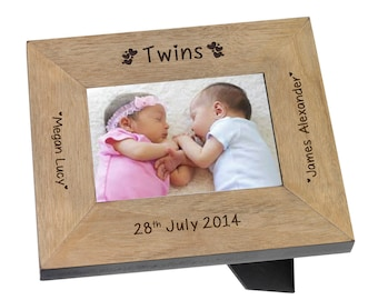 Personalised Engraved Twins Names 7x5 Wood Photo Frame