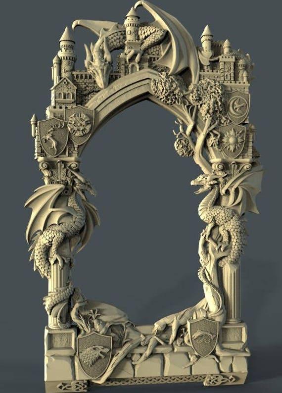 3D STL Model Frame Dragons CNC Router Engraver Machine Relief Artcam ...