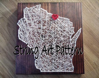 Wisconsin DIY String Art Pattern, DIY String Art Pattern, WI diy string art pattern, wisconsin art pattern, string art pattern, wisconsin