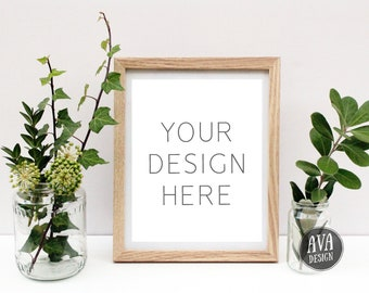 8x10 Photo Frame | Simple Frame Mockup | Frame Background | Wooden Photo Frame | Frame Template | JPEG + PNG | Digital File | Commercial Use