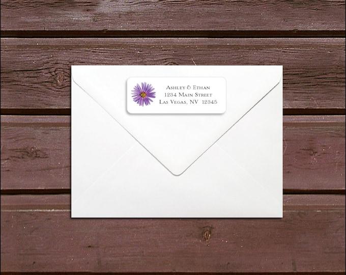 100 Lavender Purple Daisy Wedding Address Labels. Personalized self stick label