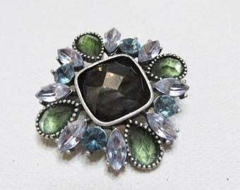 Blue green rhinestone square domed faceted stones brooch pin