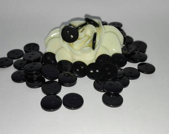 Set of 50 buttons Black 10mm plastic