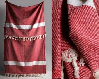 turkish blanket, natural cotton blanket, blanket, red blanket, throw, natural cotton throw, sofa blanket, sofa throw, boho decor,boho design