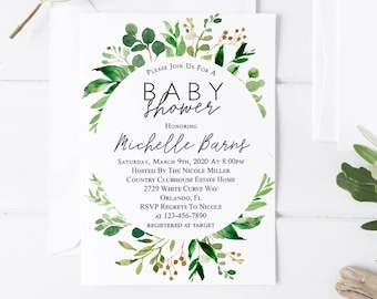Greenery Baby Shower Invitation Printable Greenery Woodland Baby Shower Invitation Greenery Foliage Baby Shower Invite Gender Neutral