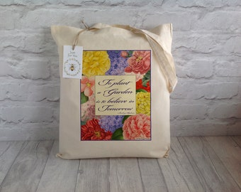 Gardener's Tote Bag / Shopping Bag / Gift For Gardeners / Eco Bag / Farmers Market Bag / Grocery Bag / Cotton Tote / Garden Tote Bag