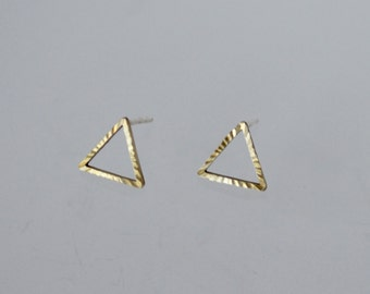Triangle Earrings, Triangle Stud Earrings, Open Triangle Earrings, Brass Earrings, Golden Color Triangle Earrings, Geometric Earrings, Studs