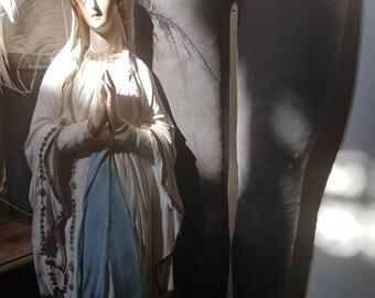 Vintage antique rare church Madonna plaster Lourdes Madonna large