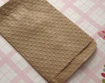 20 Embossed Kraft Paper Bags Polka Dots 3 1/4 x 5 1/4 inches