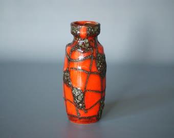 WEST GERMAN POTTERY Vase, Scheurich 210 18, Harlekin Spiderweb Decor, Red and Black Fat Lava Glaze, German Mid Century, Made in Germany