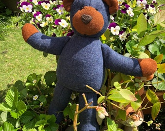 Classic Patchwork Teddy Bear, Blue