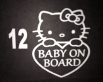 Hello Kitty baby on board decal