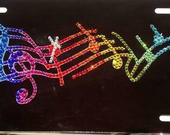 Swarovski Musical Notes License Plate