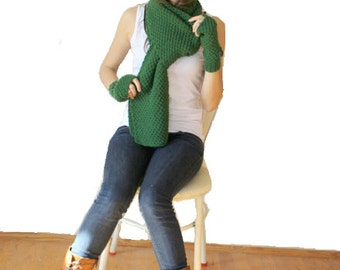 Hand Knit Green Wool Warm set / For Women For My Mom / Christmas Gift /Gift for Her