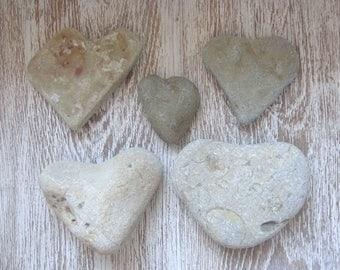 5 medium Heart pebbles/Sea Stones Heart/Beach Heart Rocks/Natural Heart Rock/Heart Stones/Heart Shaped Rock/Wild Harvest/Heart Shape Pebbles
