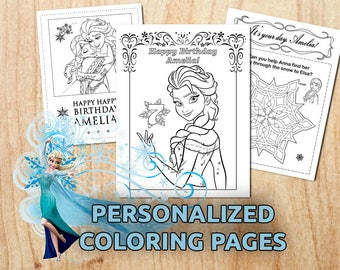Frozen Birthday Party Coloring Pages / Party activity /Printable / Personalized / Digital / PDF