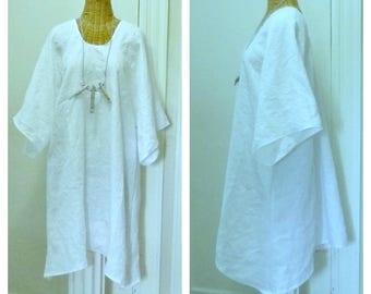 Beachcomber Linen Tunic Blouse or Dress, Lagenlook, Medium, Large, 1x, 2x, 3x, 4x 5x 6x White with Half Sleeves