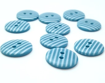 Turquoise and white striped 2 hole buttons. 15mm. Pack of 10