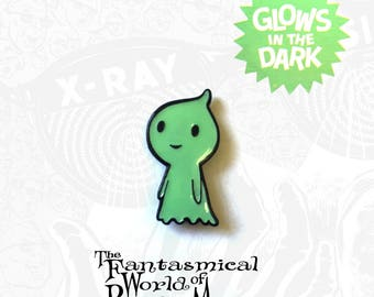 Glow In The Dark GHOST Halloween Enamel Pin by Rhode Montijo