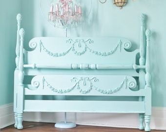 custom order antique shabby chic aqua blue bed frame full beach coastal cottage prairie swags roses bows 4 post OMG