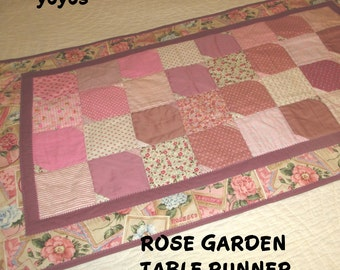 ROSE.  GARDEN,  TABLE Runner,  Home Décor,  Gifts for Women, Spring, Easter, Pink, Patchwork, Small Table Mat, Floral