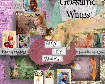 Gossamer Wings  Fairy Journal  Printable Journal Pages  Digital Journal Kits DIY  Junk Journal Inserts  Junk Journal Kit  Ephemera pack