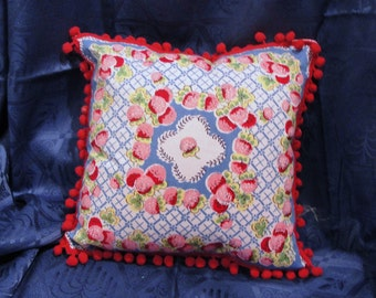 Vintage Handkerchief Pillow with Pom Pom Trim
