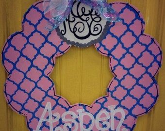 Monogrammed Wreath Door Hanger