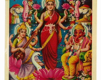 Vintage print of Goddess Lakshmi with Lord Ganesh and Goddess Saraswati