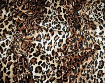 DESIGNER ETHNIC CHIC Simba Leopard Leopardo Cheetah Velvet Fabric Remnant Black Brown Cream