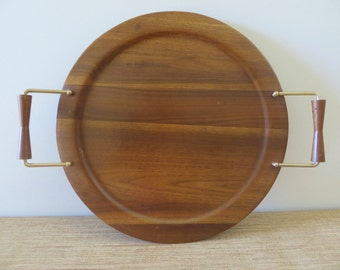 Mid Century Round Teak Wood Serving Tray - Atomic Style Brass and Wood Handles