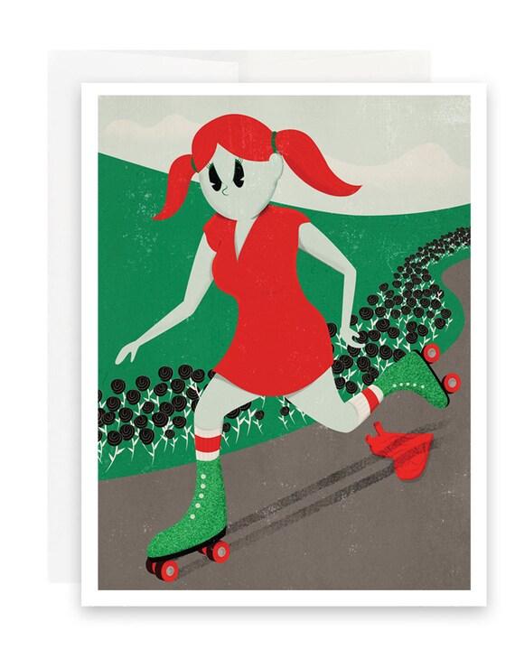 Rollergirl Valentine Card