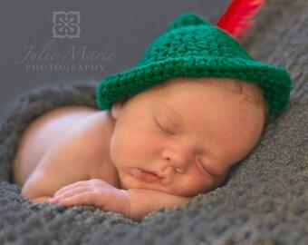 Crochet Peter Pan Hat Newborn MADE TO ORDER Photography Prop