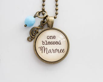Marmee Necklace - Family Jewelry - Mothers Day Gift - Text Jewelry - Personalized Gift Custom Necklace One Blessed Marmee - Grandma Pride
