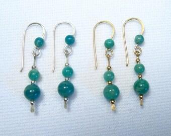 Lyn's Jewelry Amazonite Drop Earrings Silver or Gold