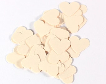 50, 100 Little Ivory Hearts - cardstock - Little Hearts - Scrapbook Embellishment - Cardmaking supplies - 1/2 inch - table scatter
