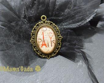Oval Cabochon vintage writing Eiffel REF:8 Paris glass pendant / 03 c