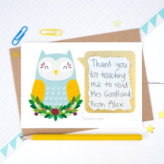 Thank you teacher scratchcard thank you teacher card owl m4hsunfo