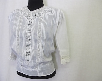 Antique Victorian Cotton Lace Blouse Edwardian Blouse