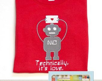 Superb Valentine Robot Applique Design