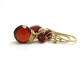 Gold garnet earrings, red stone earrings, January birthstone garnet, bohemian garnet jewelry, wire wrap handmade jewelry, red drop earrings