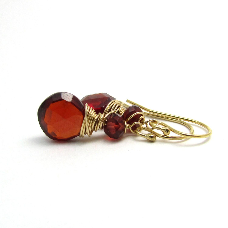 Gold Granat Ohrringe rote Stein Ohrringe Januar Geburtsstein