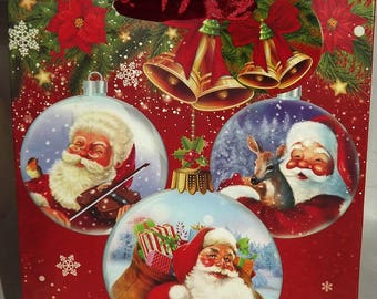 1 pouch, Christmas gift bag Santa 24x18x8cm patterns