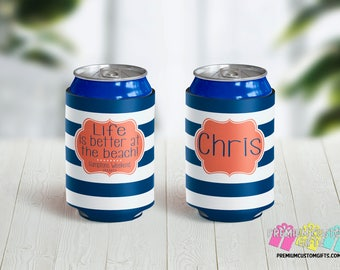 Beach Bash Can Coolers - Personalized Can Coolers - Bachelorette Can Cooler - Custom Coolies -  Custom Party Favors - Vacation Can Coolers